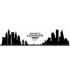 welcome to london england skyline silhouette with vector image