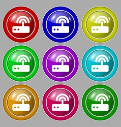 Wi fi router icon sign symbol on nine round vector