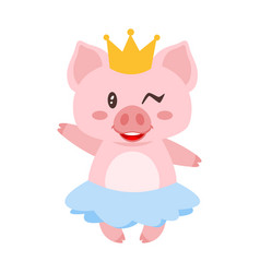 Winking pig in blue skirt vector