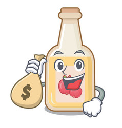 With money bag cartoon apple cider in a glass vector