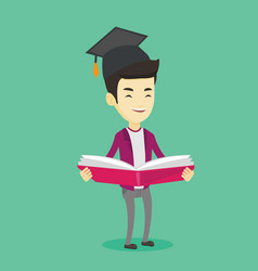 graduate with book in hands vector image vector image