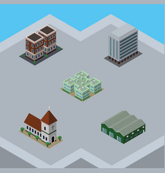 isometric architecture set of chapel warehouse vector image vector image