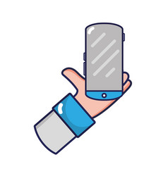 man hand with smartphone mobile technology vector image