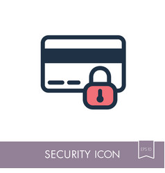 secured credit card icon vector image vector image