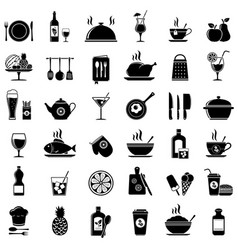cooking kitchen tools food and drinks icons vector image vector image