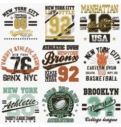 New York t-shirt set vector image vector image