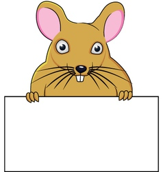 Rat cartoon with blank sign vector image vector image