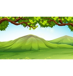 Scene with moutains and trees vector image