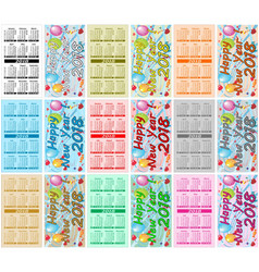 set colorful pocket calendars for 2018 vector image