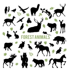 Silhouettes of the forest animals vector image