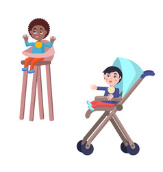toddlers in baby carriage and highchair vector image