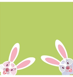 two funny Bunny peeking from the corner vector image vector image