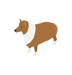 Collie dog icon isometric 3d style vector image