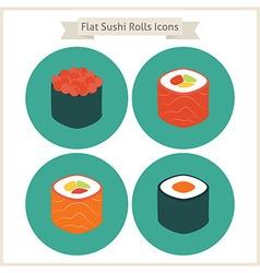 Flat food sushi rolls circle icons set vector