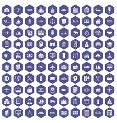 100 private property icons hexagon purple vector image