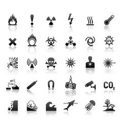 black symbols danger icons vector image vector image