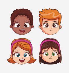 childrens face cartoon vector image vector image