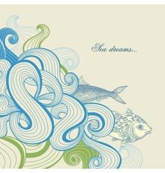 Sea waves and fish vector image vector image