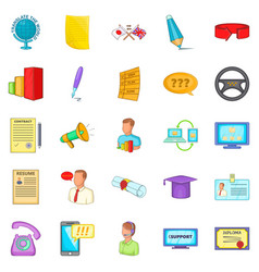 Seminar icons set cartoon style vector