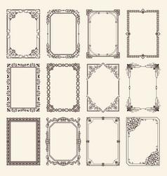 vintage swirly black and white elegant frames set vector image vector image