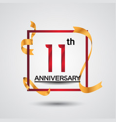 11 anniversary design with red color in square vector