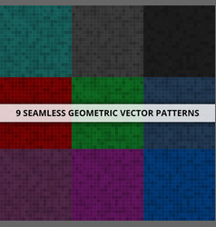 9 seamless geometric patterns abstract vector image