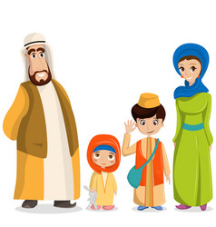 Arabic family in national clothes parents vector