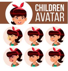 asian girl avatar set kid high school vector image