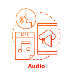 Audio red concept icon listening hearing vector