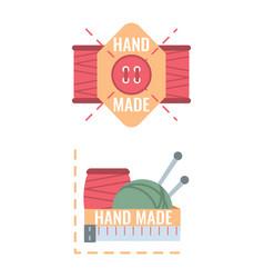 Badges design elements for handmade tailor hand vector