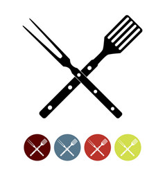 bbq icon with grill tools vector image