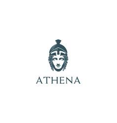Beauty greek roman goddess minerva head sculpture vector