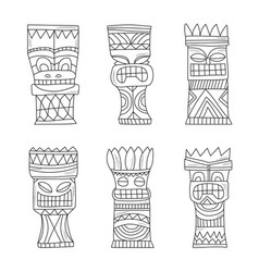 Black and white wood polynesian tiki idols gods vector