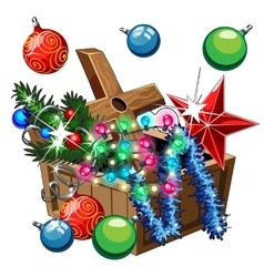 Box with Christmas decorations balls stars vector image