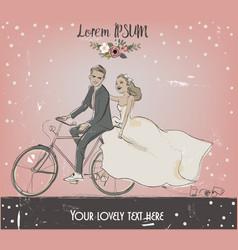 Bride and groom on bike vector