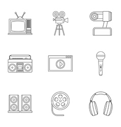 Broadcasting icons set outline style vector