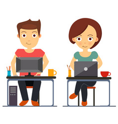 business man and woman working at computer vector image