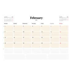Calendar template for february 2021 business vector