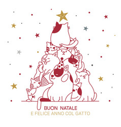 cat christmas tree with italian best wishes for vector image