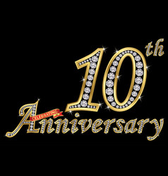 celebrating 10th anniversary golden sign with vector image
