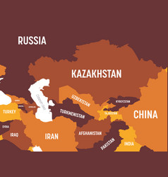 Central asia map - brown orange hue colored on vector