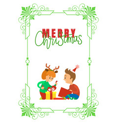 christmas holidays children opening presents vector image