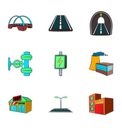 City facilities icons set cartoon style vector