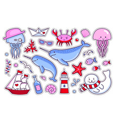 collection of sea stickers patches badges and vector image