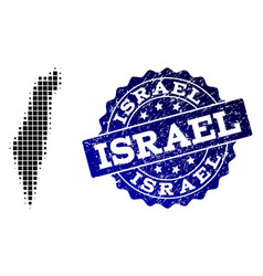 composition of halftone dotted map of israel and vector image