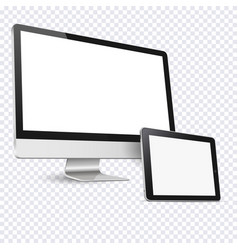 computer display and tablet computer isolated on vector image