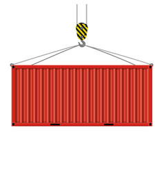 crane hook lifts the metal container vector image