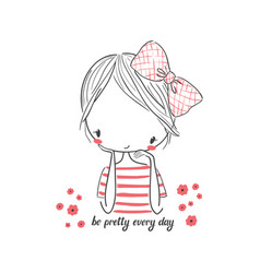 Cute girl with bow for clothing vector