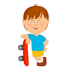 Cute little boy leans on his skateboard vector