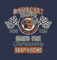 cute motorcycle kids racing team grand prix vector image